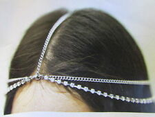 NEW WOMEN SILVER HEAD METAL CHAIN FASHION JEWELRY GRECIAN TWO RHINESTONES STRAND
