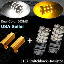 2X3157 Dual Color Switchback White/Amber LED Turn Signal Light Bulbs + Resistors
