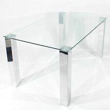 Charles Jacobs Dining Table with Thick Chrome Legs and Clear Glass Top Quality