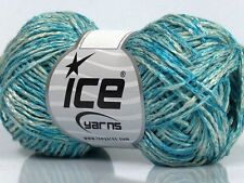 Lot of 8 Skeins Ice Yarns SALE SUMMER (60% Viscose 40% Cotton) Yarn Blue White