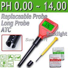 Digital Medidor pH Largo Reemplazable Electrodo Acuario Calidad Tester Spa Agua