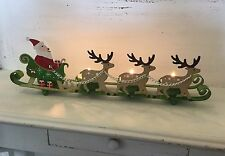 Santa Sleigh & Reindeer Christmas Tea Light Candle Holder Gisela Graham Vintage