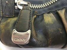 DKNY Distressed Leather Handbag Clutch Bag