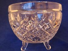 """Lovely Lead Crystal Footed Bowl 4.5"""" x 5.5 across Pineapple Diamond Pattern Dish"""