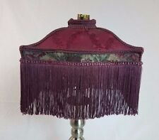 Vintage Victorian Uno Bridge Wine Embroidered Fringed Lamp Shade
