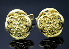 WALLACH VINTAGE GENUINE DIAMONDS SATYR MASK SOLID 14K YELLOW GOLD CUFFLINKS