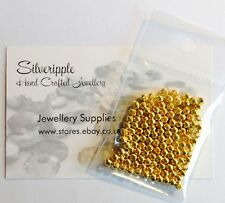 125 SPACER BEADS  GOLD PLATED SMOOTH BALL  3mm