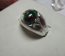 FIREY!  GENUINE BLACK OPAL 1.4CT- bright color-MENS NEAT SILVER FINE RING