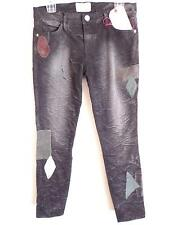 Current elliott black jeans destroyed velvet patches jeans New