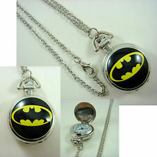 DC BATMAN Girl Women Ladies Men Boy Child Fashion Pocket Watch Necklace + CHARM