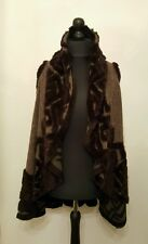 NEW LaGeNLooK QUIRKY WOOL mix BOHO waterfall GILLET/WAISTCOAT WRAP faux fur trim