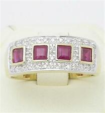 Natural Ruby & 34 Diamond 9ct 9K 375 Solid Gold Ring - Bravo Jewellery