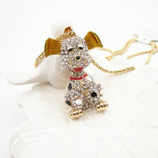 Gold Plated Crystal 3D Smile Spots Pup Puppy Dog Pendant Chain Sweater Necklace