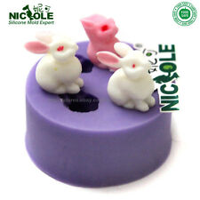 2D Rabbit Silicone Soap Molds DIY Tools Chocolate Candy Polymer Clay Mould Resin