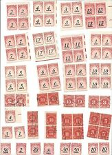 US Postage Due Over 100 total stamps  12 blocks mint  plus canceled
