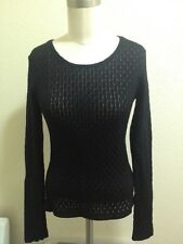 ANNE FONTAINE PARIS BLACK SZ 1 *MARELLE* STRETCHY BODYCON BLOUSE/TOP
