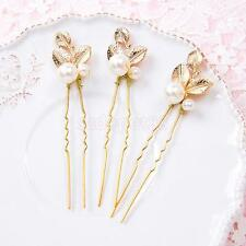6 x Hair Pins Gold Clover Faux Pearl Bridal Bridesmaid Prom Jewelry