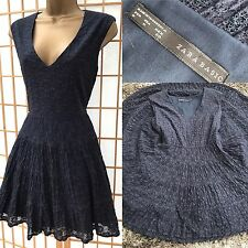Zara Navy Blue Lace Dress Medium Fit Flare Skater Party Casual tea womens  645