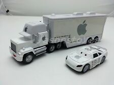 Disney Pixar Cars White Apple Mack Racer's Truck &  Apple Icar Toy Car 1:55 New