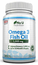 NU U OMEGA 3 Olio di Pesce 1000mg 365 SOFTGELS OMEGA 3 6 9 DHA + EPA 100% money back