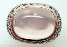 14K Gold Large Oval Genuine Natural Rose Quartz Ring with Tourmalines (#2976)