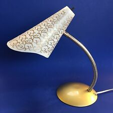 1950s Vintage Gooseneck DESK LAMP Atomic Scroll Shade Mid Century Light