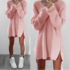 Women Winter Zipper Casual Loose Long Sleeve Sweater Knitwear Pullover Jumper