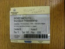 11/12/2004 Ticket: Newcastle United v Portsmouth  (writing on front, creased). T