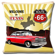 "NEW 'WELCOME TO TEXAS' ROUTE 66 CLASSIC RED CAR RODEO 16"" Pillow Cushion Cover"