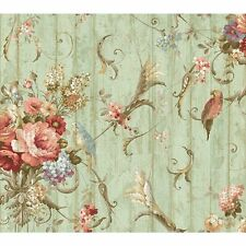 York Wallcoverings HA1326 Blue Book Parrots with Floral Bouquets Wallpaper, Blue