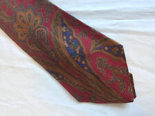 Mens Red Brown Blue Tie Necktie THOMAS & THOMAS~ FREE US SHIP (8509)