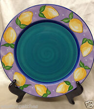 "ESSEX COLLECTION PORTUGAL FRUIT PUNCH DINNER PLATE 10 3/8"" LEMONS PURPLE GREEN"