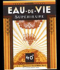 """SIN-le-NOBLE (59) ETIQUETTE ancienne d'ALCOOL """"EAU DE VIE / U.D.C."""""""