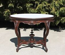 Shell Carved Victorian Fancy Walnut Marble Top Parlor Center Lamp Table c1875