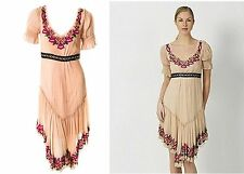 JOHN GALLIANO Silk Flower Bead Asymmetric Hem Folk Dress UK 8/10 IT 40 NWT Rare