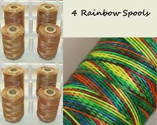 New 4 x Rainbow Colour Extra Strong Nylon Thread Large Spools Beautiful & Strong