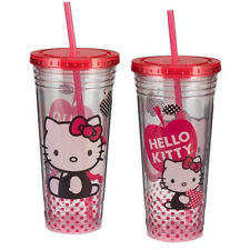 Hello Kitty Sitting with Apple Logo 24 oz Double Wall Acrylic Travel Cup w Straw