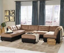 Modular 7Pcs Sectional Sofa Set Brown Microfiber Coaster Sectional Sofa Set