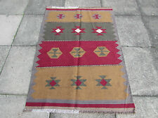 OLD HANDMADE PERSIAN Oriental wool Greys Browns kilim 148x103cm 5'x3'5""
