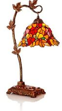 """Accent Table Lamp, Tiffany Stained Glass """"Harvest Leaves"""""""