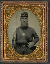 Photo Civil War Union Solder In Uniform With Musket and Saber Bayonet