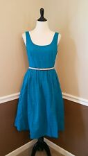 NWT $195 Modcloth Bliss or That 6 Teal Eyelet Tea Dress Turquoise Donna Morgan