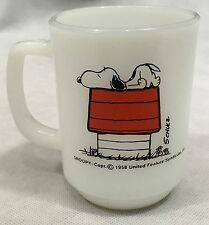 1958 Anchor Hocking Fire King Snoopy Allergic To Mornings Milk Glass Mug  2/8