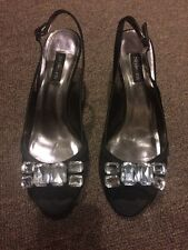 Style & Co Black Heeled Sandals Jeweled Sequin 7.5M Gretchen Shoes Heels