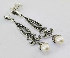 MARCASITE PEARL EARRINGS 925 STERLING SILVER ARTISAN JEWELRY COLLECTION R697A