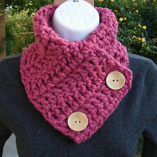 NECK WARMER SCARF Raspberry Solid Dark Pink Crochet Knit Thick Cowl with Buttons