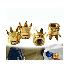 Gold Princess Queen King Royal Crown,Metal Tyre Wheel Dust Valve Caps x4 BMX JDM
