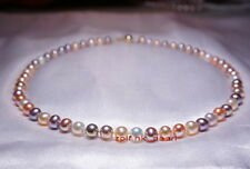 "AAAAA round 18""9-10mm South sea white pink purple multicolor pearl necklace 14K"