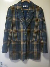 A LOVELY WOMEN'S GERRY WEBER YELLOW- GREEN-BLUE CHECKED BLAZER SIZE 36