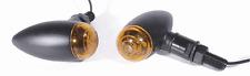 Mini Blinker Set Bullet Metall schwarz glatt für Harley Dyna Motorrad